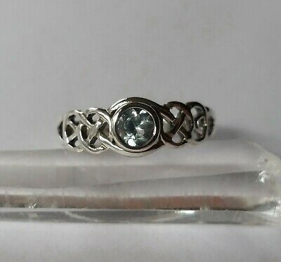 457 Blue Topaz Celtic Ring Solid 925 Sterling Silver faceted sz N/P/S rrp$49.95