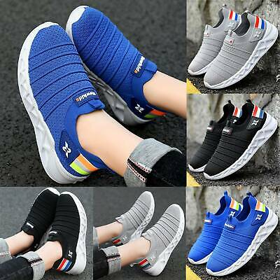 Kids Boys Trainer Sneakers Casual Sports Running Mesh Breathable Sock Shoes Size