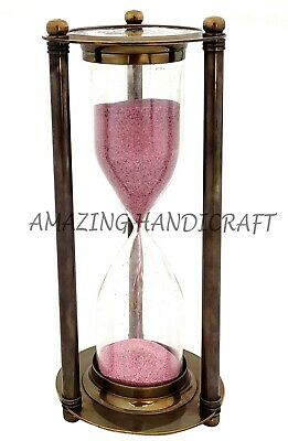 "Maritime Nautical 8"" Brass Ship Hourglass Vintage Antique Sand Clock Timer"
