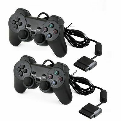 Wired Black Dual Shock Controller for PS2 PlayStation Joypad Gamepad UK Stock