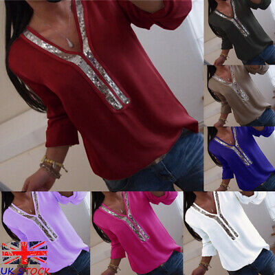 UK Womens Loose Tshirt Blouse Base Sequins Pullover Ladies Stretch Jumper Tops