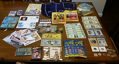 NOT Junk Drawer Lot/COINS, CURRENCY, STAMPS, TRADING CARDS, CROWN ROYAL & MORE!