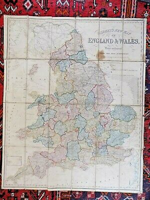 1849 Gilbert Folding Map Large 84x68 England Wales Railways Turnpike Old Antique