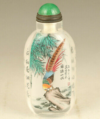 Old Natural crystal inside hand painting magpie statue snuff bottle decoration