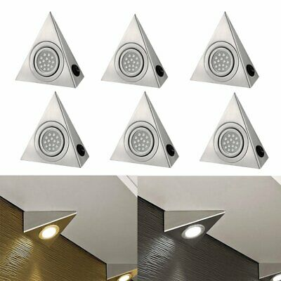 6pcs 15 LED Triangle Mains Under Kitchen Cupboard Cabinet Lights Cool/Warm Light