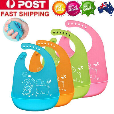 AU Waterproof Baby Silicone Bibs Feeding Bib Kids Roll Up Food Catcher Pocket