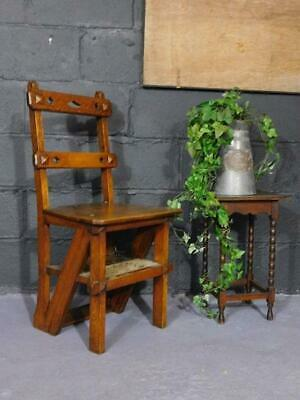 Antique Gothic Oak Metamorphic Library Chair Steps