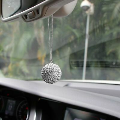 Car Pendant Car Rear View Mirror Charm Crystal Ball Hanging Ornament Rhinestone