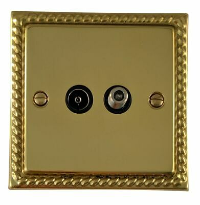 G/&H MB35B Monarch Roped Polished Brass 1 Gang TV Coax Socket Point