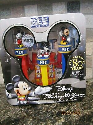 Mickey Mouse Pez 80th ANNIVERSARY DISPENSERS TIN SET 2007 LIMITED EDITION DISNEY