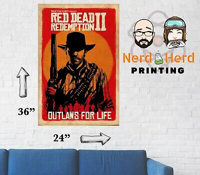 Red Dead Redemption 2 Wall Poster Multiple Sizes Available 11x17 - 24x36 inches