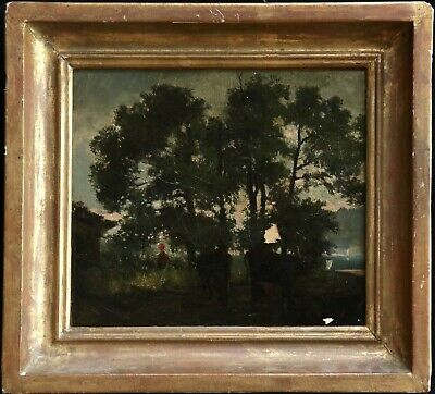 Theodore Rousseau (1812-1867) Signed French Barbizon Oil Cattle Dusk, To Restore