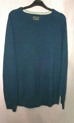 Howick House Of Fraser Blue Marl  Long Sleeve 100% Wool Jumper Uk Xl