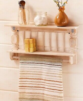 White Antique-Finish Spindle Wall Shelf Towel Bar Kitchen Bathroom Storage
