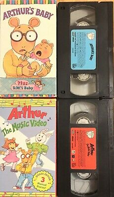 ARTHUR (VHS) lot of 2 rare tapes THE MUSIC VIDEO / ARTHUR'S BABY cult anime KIDS