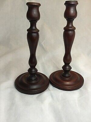 """Vintage Pair Of Mahogany Or Cherry Wood ? Turned Candlestick Candle Holders 12"""""""