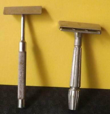 2 Vintage Safety Razors: Gem Micromatic Bullet End and Christy
