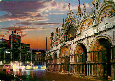 Picture Postcard, Venice At Night, St. Mark's Basilica And Clock Tower
