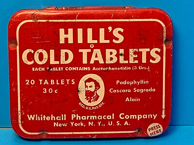 Old Vintage Hill's Cold Tablets Whitehal Pharmacal Company Pill Tin Container