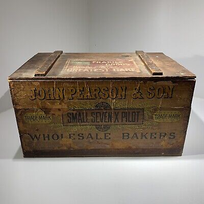 Antique John Pearson & Son Bakers Biscuit Wooden Advertising Primitive Box 1890s