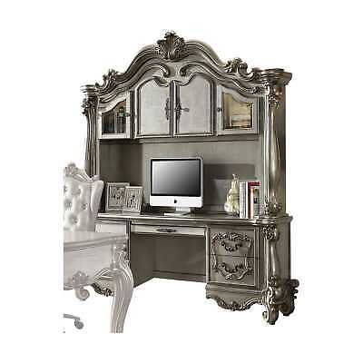 """92"""" X 21"""" X 76"""" Wood, Poly Resin, and Glass Computer Desk & Hutch, Antique Pl..."""