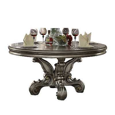 """30"""" X 60"""" X 60"""" Wood and Poly Resin Dining Table (Round Pedestal), Antique Pl..."""