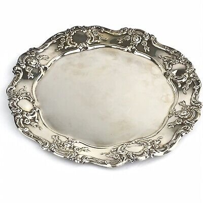 """Towle Old Master Embossed Silver Plate 11"""" Ornate Round Tray No Monogram"""
