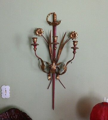 Antique Italian Tole/Wood/Metal Sword Sconce-Neo-Classical/French Empire-19th C
