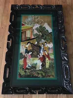 LG Antique Japanese Reverse Oil Painting On Glass-19th C Asian Art