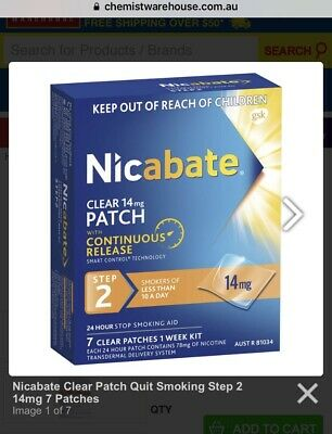 4 Boxes X Nicabate 24 Hour 7 Patches Step 2 - 14mg - Au Stock (rrp $31ea)