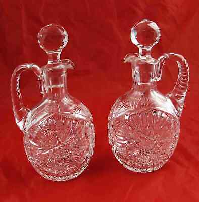 Pair 2 Antique American Brilliant Cut Glass Claret Port Decanters Jugs Excellent