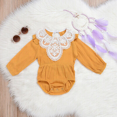 Newborn Kids Baby Girl Raffle Lace Long Sleeve Romper Bodysuit Outfits Clothes