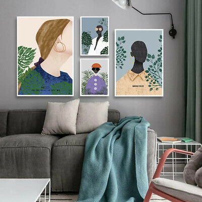 Indie Pop Fashion Girl Poster Abstract Wall Art Print Modern Simple Painting
