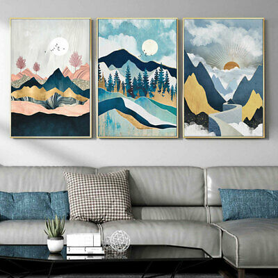 Line Drawing Mountain Sunset Vintage Poster Abstract Landscape Wall Print Decor