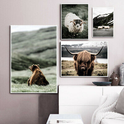 Animal Bear Cow Sheep Nordic Poster Nature Landscape Canvas Art Print Painting