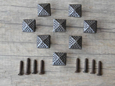 vintage cast iron pyramid door cabinet drawer knobs handles rustic 8pcs lot