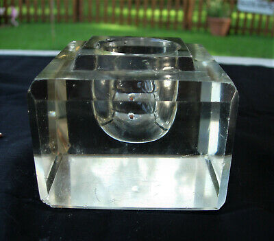 Vintage Antique LARGE HEAVY CUT GLASS INKWELL Paperweight Beveled Edge circa1896