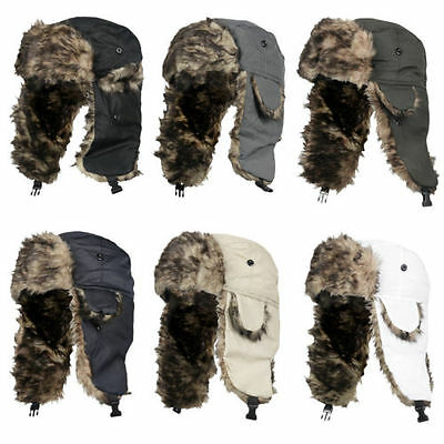 Mens Womens Winter Trapper Aviator Hat Warm Ski Ushanka Fur Earflap Trooper Cap