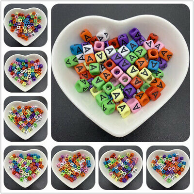 100pcs 6x6mm Acrylic Spaced Beads Square Shape Letter Beads For Jewelry Making