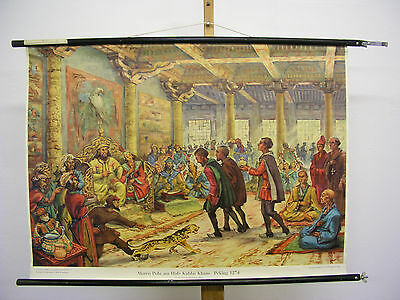 Pretty Wall Picture Marco Polo at Hofe Des Kublai Khan 1271-95? 94x68 Vintage~