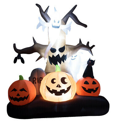 10' Halloween Inflatable Dead Tree w/Ghost Pumpkins LED Lights Yard Decoration