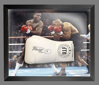 Signed Frank Bruno White VIP Boxing Glove In Acrylic Dome Frame Proof COA AFTAL