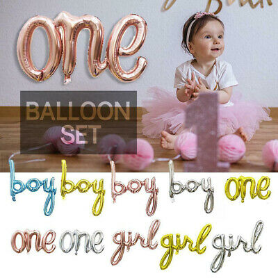 One Boy Girl Letter Foil Balloon Baby Shower 1st Birthday Party Decorations New`