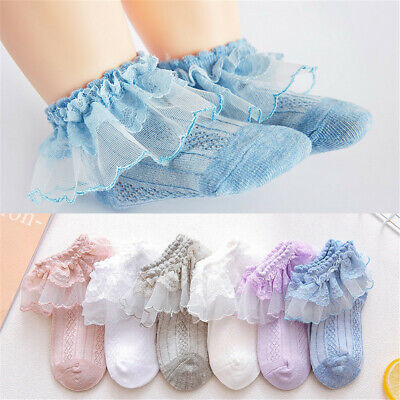 Retro Lace Ruffle Frilly Socks Kids Girls Princess Mesh Solid Cotton Short Sock`
