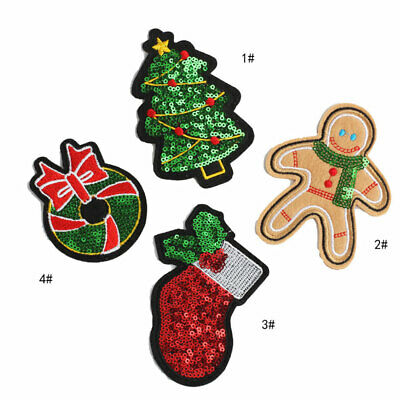 4Pcs Christmas Sequined Embroidery Badge Sew Iron On Patch Fabric Applique Decor