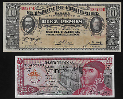 Mexico(2)Bank Notes 10 Peso D 1914 P S 533 G And 20 Peso 1.7.1973 P 64 B Unc