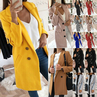 Womens Button Lapel Wool Jackets Overcoat Outwear Ladies Winter Wool Long Coat