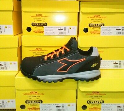 SCARPE ANTINFORTUNISTICA GEOX Diadora GLOVE TECH LOW PRO S3 ESD nero orange fluo