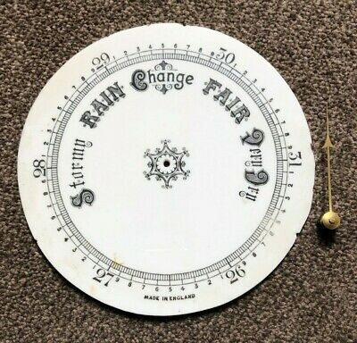 Genuine Antique Milk Glass Barometer Dial with Pointer