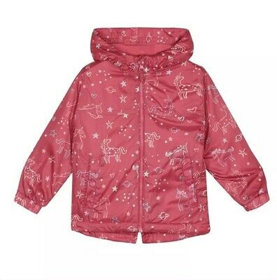 Girls Pink Unicorn Fleece lined shower Resistant Jacket - by Bluezoo - 2-3 years